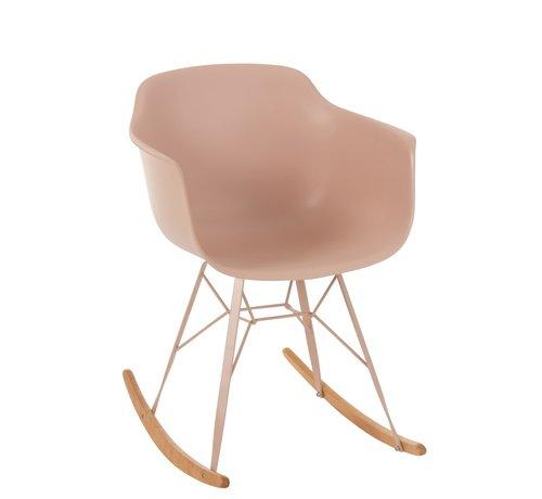 J -Line Rocking chair Pastel Pink Brown