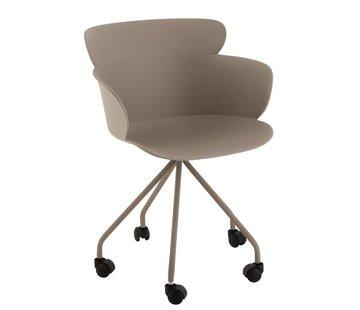 J-Line Office Chair On Wheels Metal Polypropylene - Pastel Gray