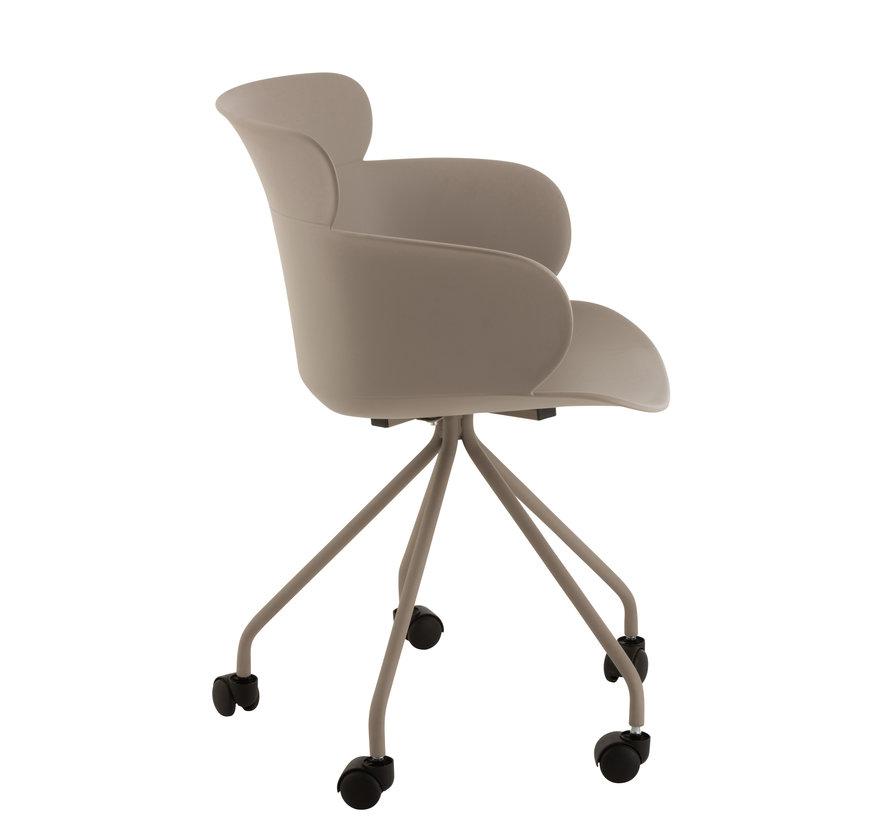 Office Chair On Wheels Metal Polypropylene - Pastel Gray