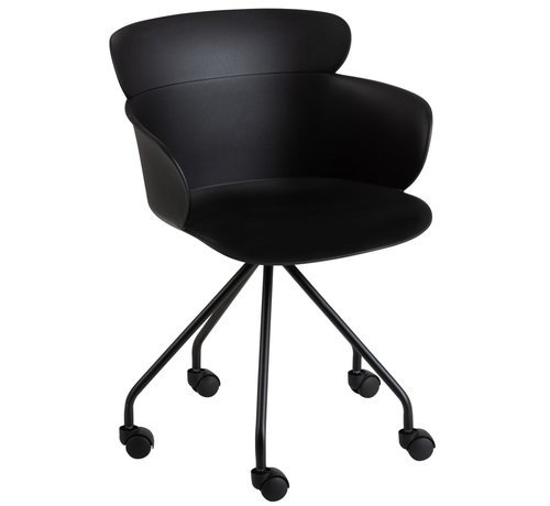 J -Line Bureaustoel Op Wielen Metaal Polypropyleen - Zwart