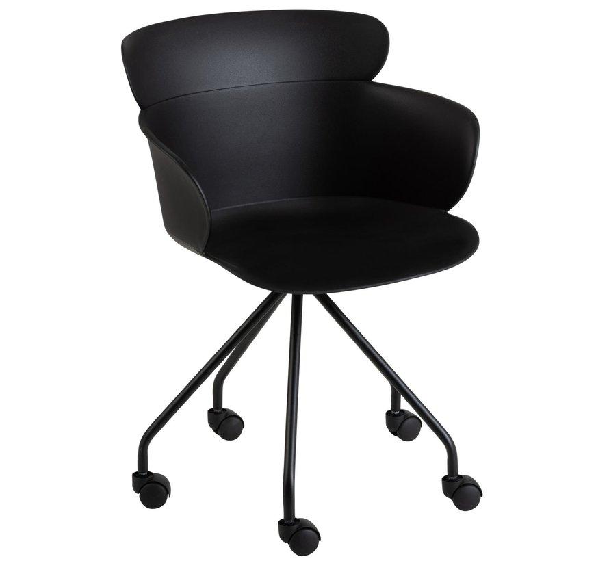 Bureaustoel Op Wielen Metaal Polypropyleen - Zwart