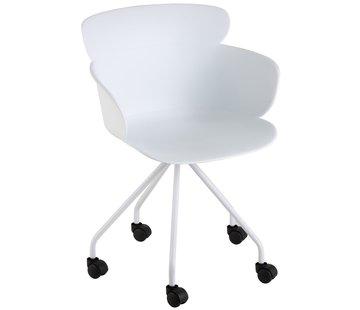 J-Line  Bureaustoel Op Wielen Metaal Polypropyleen - Wit