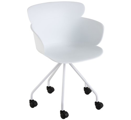 J -Line Bureaustoel Op Wielen Metaal Polypropyleen - Wit