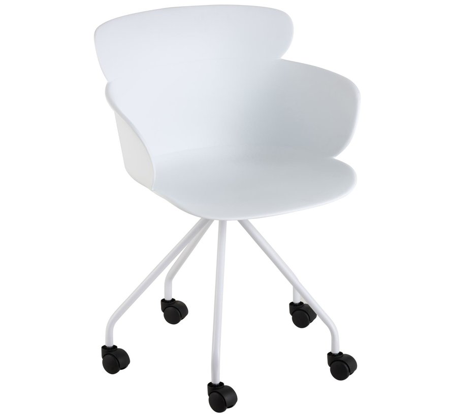 Office Chair On Wheels Metal Polypropylene - White
