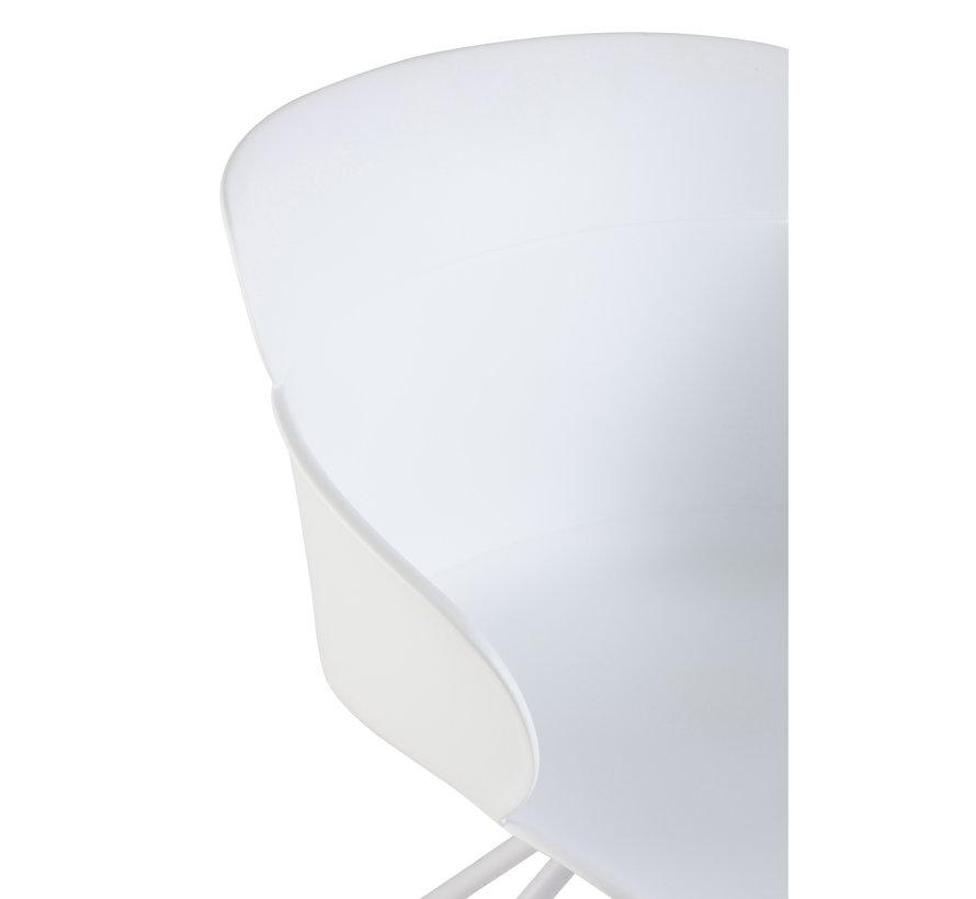 Bureaustoel Op Wielen Metaal Polypropyleen - Wit