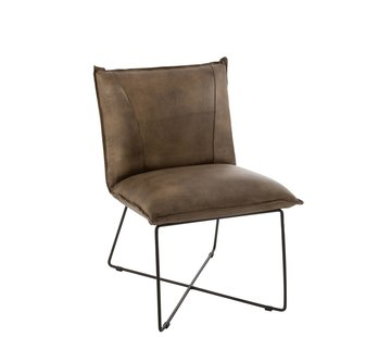 J-Line Dining room chair Leather Legs cross Gray - Green