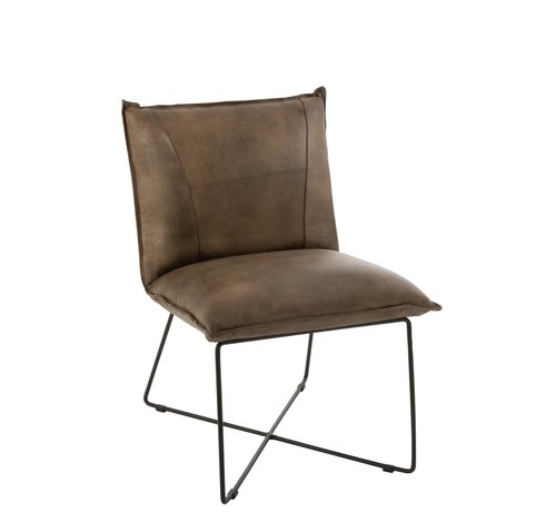 J -Line Dining room chair Leather Legs cross Gray - Green