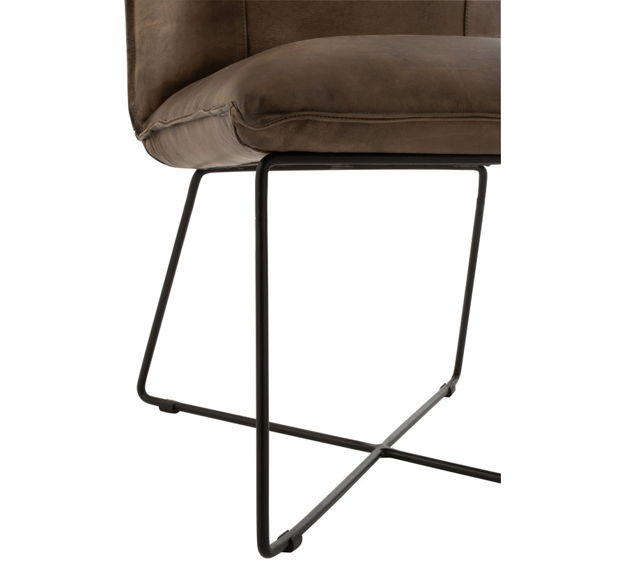 Dining room chair Leather Legs cross Gray - Green