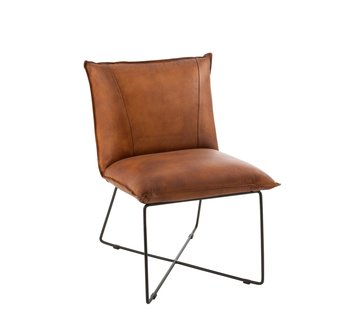 J -Line Dining room chair Leather Metal Legs cross - Cognac