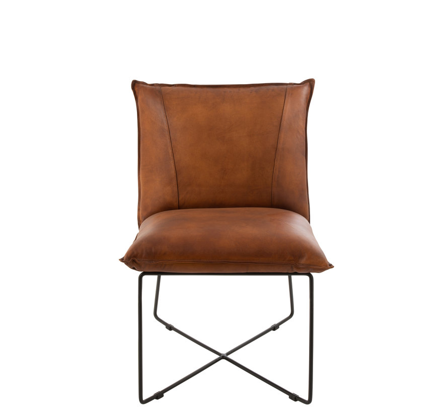 Dining room chair Leather Metal Legs cross - Cognac