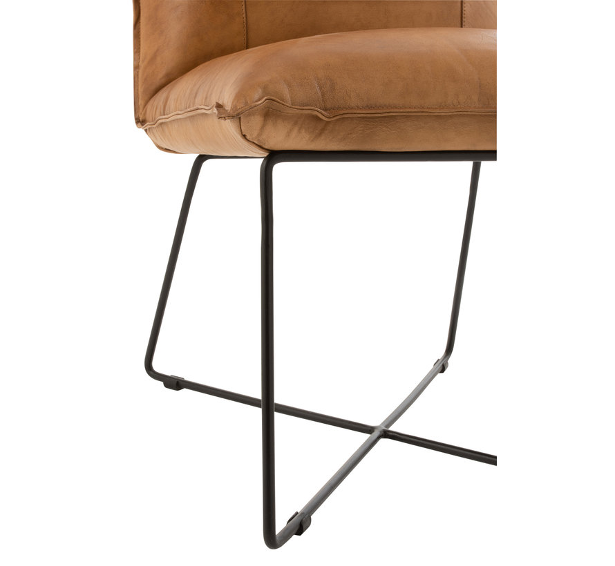 Dining room chair Leather Metal Legs cross - Camel