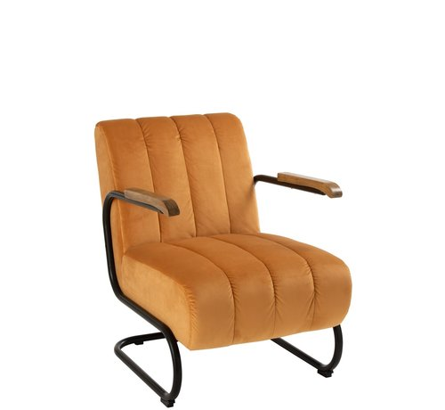 J -Line Relax chair 1 Seat Wooden Armrest Textile Metal - Yellow