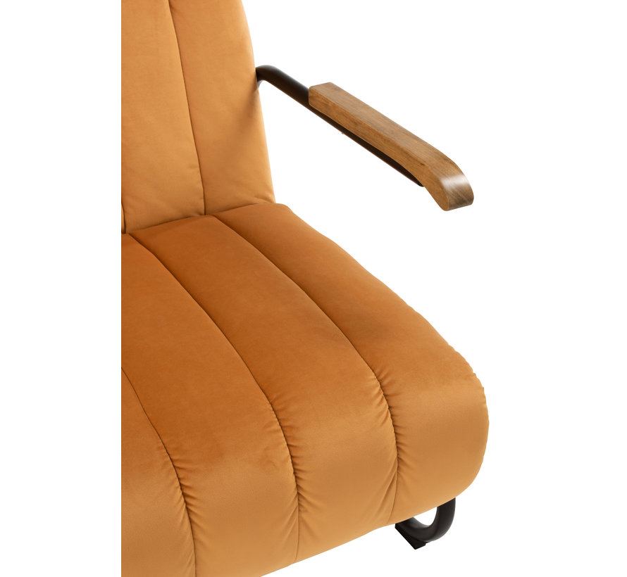 Relax chair 1 Seat Wooden Armrest Textile Metal - Yellow