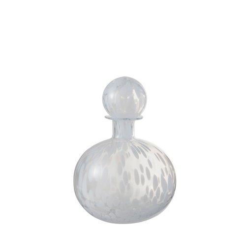 J -Line Decoration Carafe Glass Speckles Transparent White - Small
