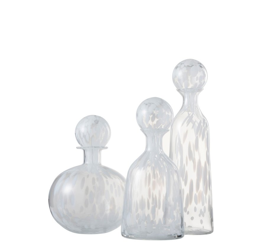 Decoration Carafe Glass Speckles Transparent White - Large