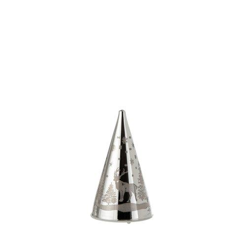 J -Line Decoratie Kegel Glas Winter Led Kerstsfeer Zilver - Small