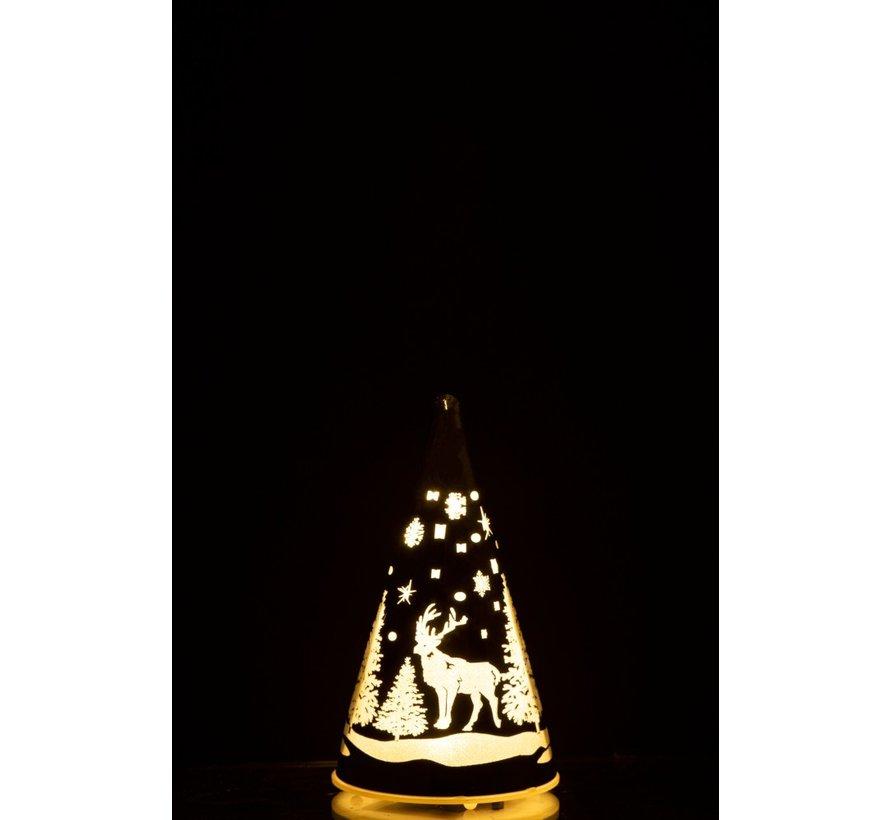Decoratie Kegel Glas Winter Led Kerstsfeer Zilver - Small