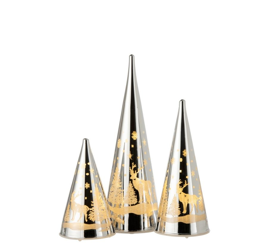 Decoration Cone Glass Winter Led Christmas Atmosphere Silver - Small
