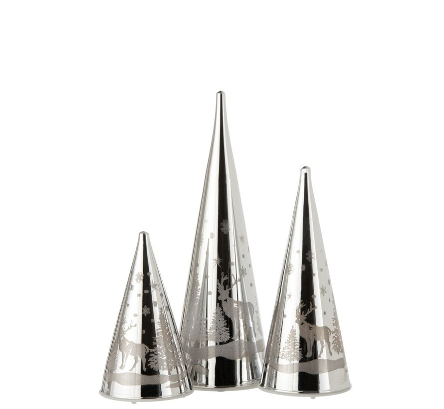 Decoration Cone Glass Winter Led Christmas Atmosphere Silver - Medium