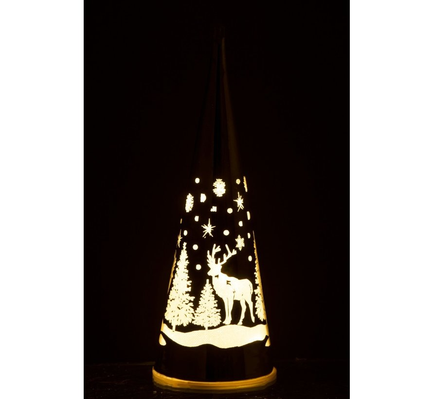 Decoration Cone Glass Winter Led Christmas Atmosphere Silver - Large