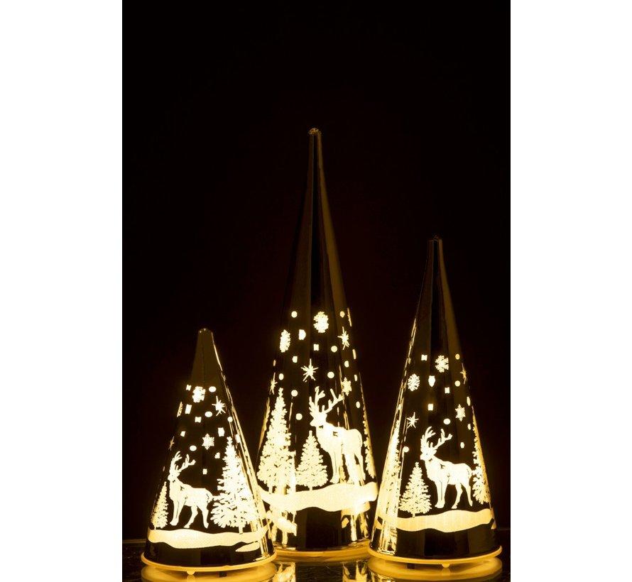 Decoratie Kegel Glas Winter Led Kerstsfeer Zilver - Large