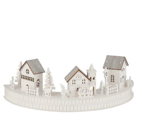 J -Line Mini Kerststad Huisjes Dieren Mensen Led Wit - Grijs