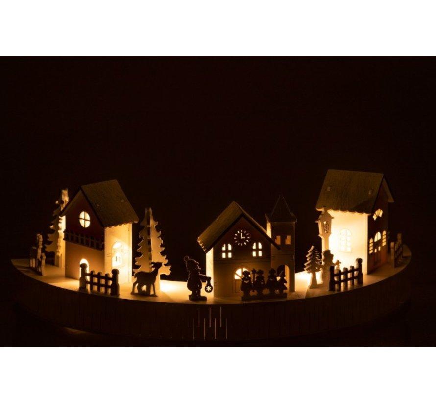 Mini Christmas Town Houses Animals People Led White - Gray