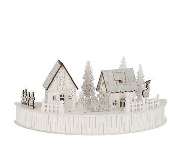 J -Line Mini Kerststad Twee Huisjes Dieren Mensen - Led