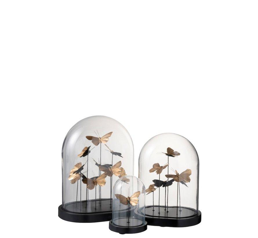 Decoratie Stolp Vlinders Glas Zwart Goud - Large