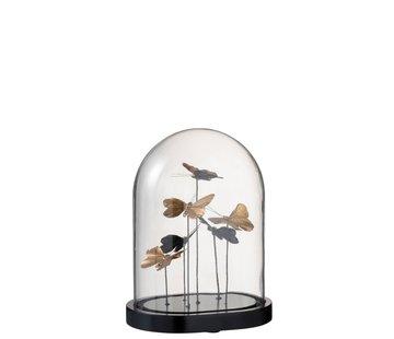J-Line  Decoratie Stolp Vlinders Glas Zwart Goud - Medium