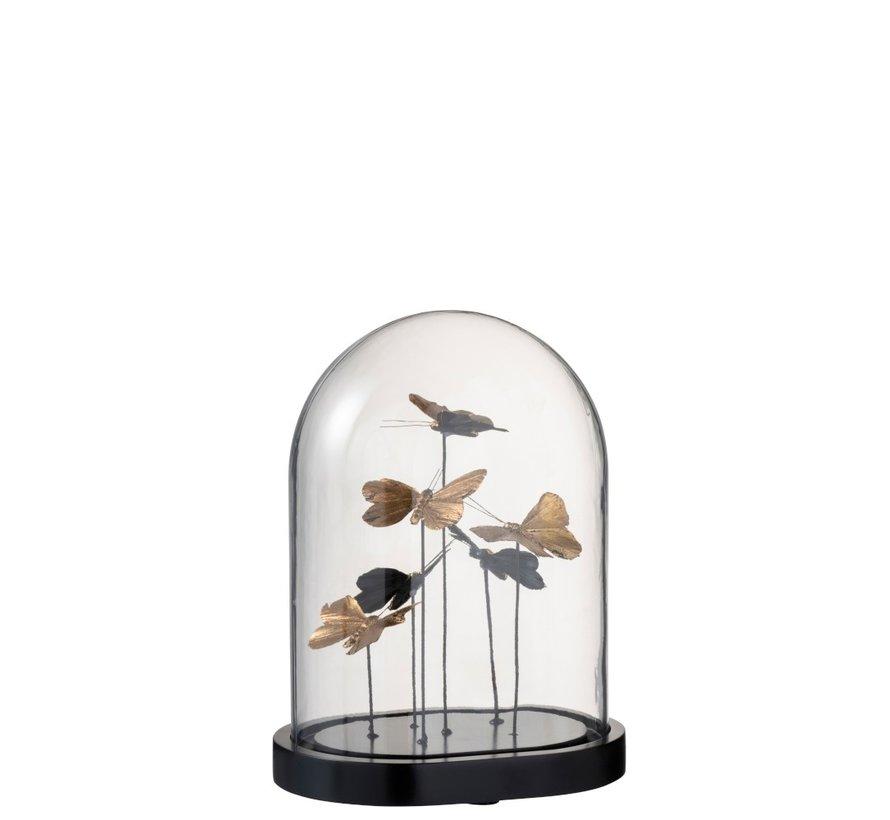 Decoration Bell Jar Butterflies Glass Black Gold - Medium