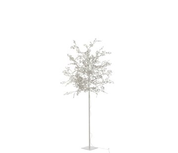 J-Line Standing Lamp Tree Leaves Glitters Led Silver - Large
