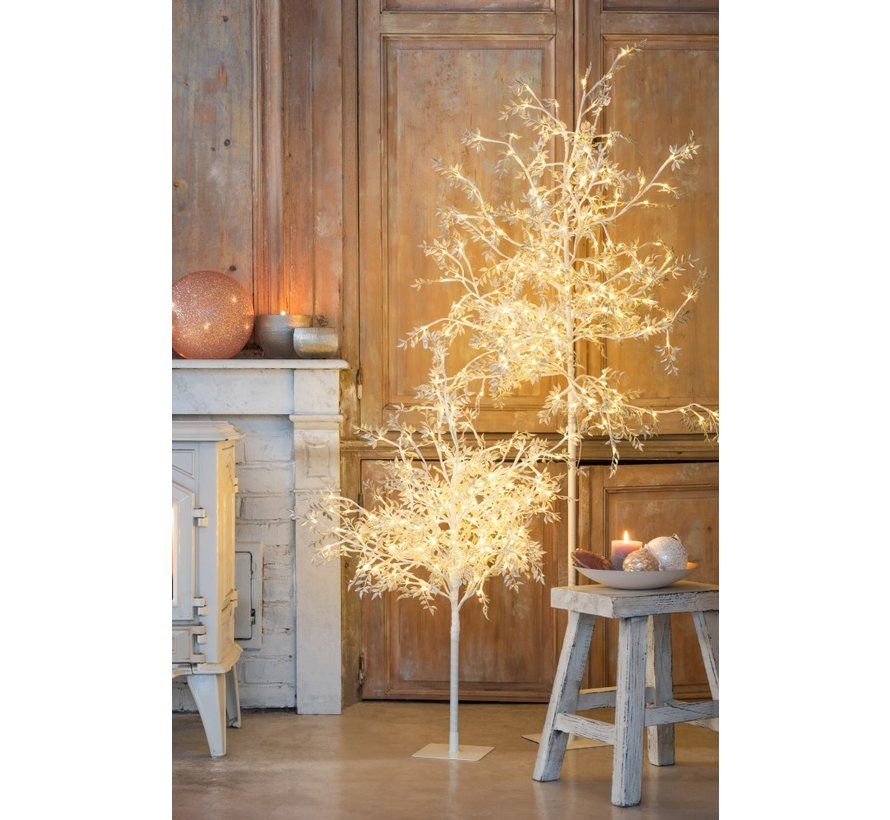 Standing Lamp Tree Leaves Glitters Led Silver - Large