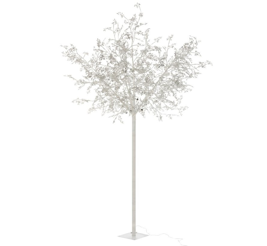 Standing Lamp Tree Leaves Glitters Led Silver - Extra Large