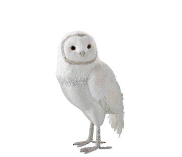 J -Line Decorative White Christmas Owl Pluche Feathers - Extra Large