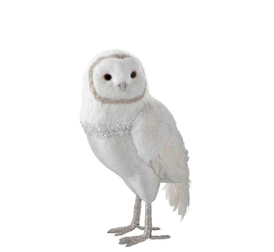 Decoratieve Witte Kerstuil Pluche Veren - Extra Large
