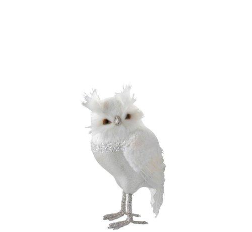 J -Line Decoration Christmas Owl Plush Feathers Silver White - Large