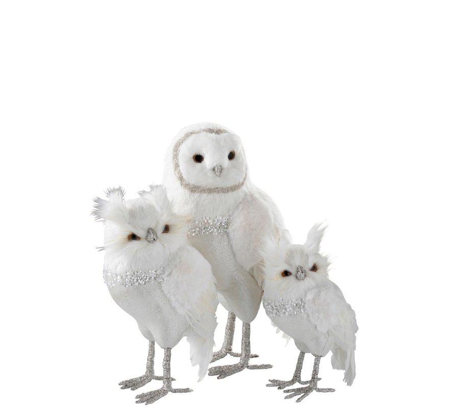 Decoration Christmas Owl Plush Feathers Silver White - Large