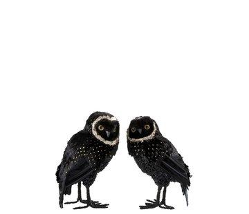 J-Line  Decoration Christmas Owl Plush Feathers Black Gold - Large