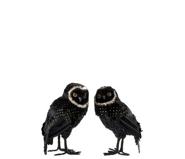 J -Line Decoration Christmas Owl Plush Feathers Black Gold - Large