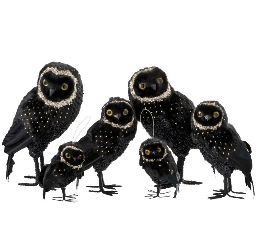 Decoration Christmas Owl Plush Feathers Black Gold - Large