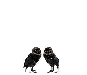 J-Line Decoration Christmas Owl Plush Feathers Black Gold - Small