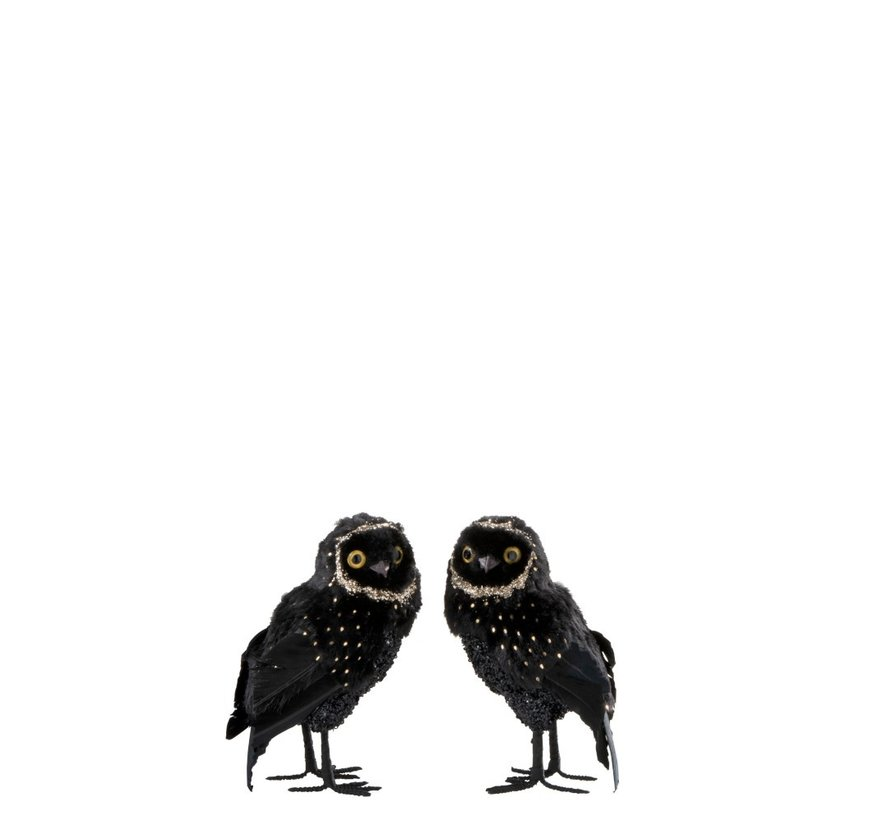 Decoration Christmas Owl Plush Feathers Black Gold - Small