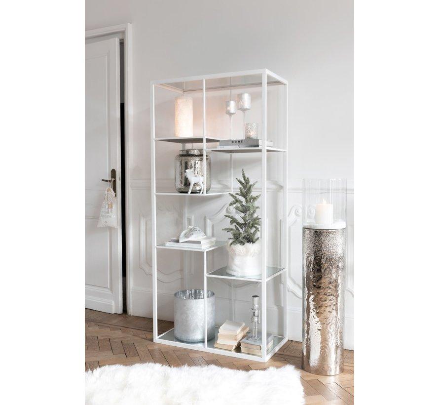 Tealight Holder Glass Pine Tree Gray Silver - Medium