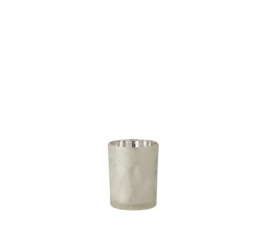 Theelichthouder Glas Dennenboom Grijs Zilver - Medium