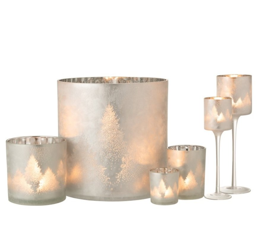 Tealight Holder Glass Pine Tree Gray Silver - Large
