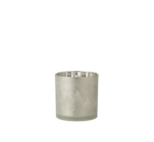 J-Line Tealight Holder Glass Pine Tree Gray Silver - Large