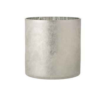 J -Line Tealight Holder Glass Pine Tree Gray Silver - Extra Large