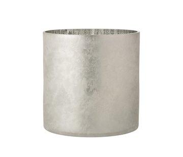 J-Line Theelichthouder Glas Dennenboom Grijs Zilver - Extra Large