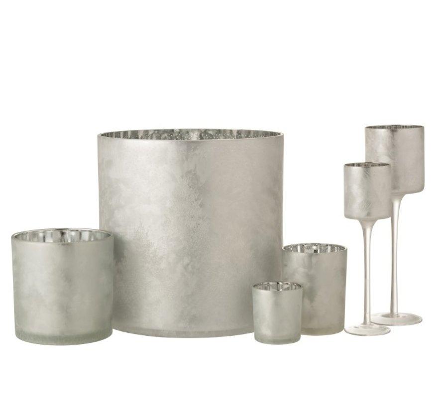 Theelichthouder Glas Dennenboom Grijs Zilver - Extra Large